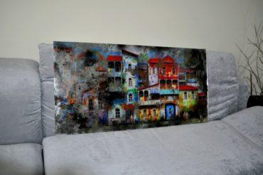 Состаренные картины на зеркале в рамах. KPS5. 1200х600 мм