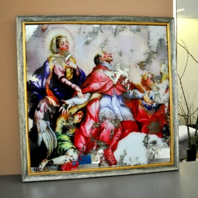 СОСТАРЕННАЯ КАРТИНА В БАГЕТНОЙ РАМЕ. KPA7_23.600X600.BAG. EPYSKOP