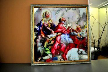 Состаренные картины на зеркале в багетных рамах. KPA7. 600х600 мм