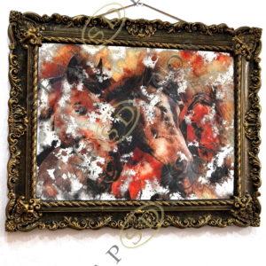 СОСТАРЕННАЯ КАРТИНА G1. 830X1107. GLD-01. THREE HORSES IN GOLD#11
