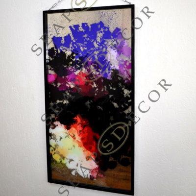 СОСТАРЕННАЯ КАРТИНА. A9. 1200X600. ABSTRACT SCARLET, BLACK, BLUE #91