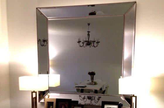 Зеркало в зеркальной раме с декоративными бусинками 1500 х 1500 мм