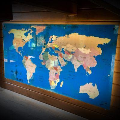 СОСТАРЕННАЯ КАРТИНА WORLD MAP (КАРТА МИРА) R13 2300Х1260 ММ С ПОДСВЕТКОЙ