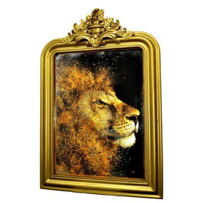 GOLD LION №383. СОСТАРЕННАЯ КАРТИНА В ГИПСОВОЙ РАМЕ R3