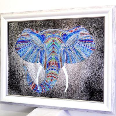 CRYSTAL ELEPHANT. КРИСТАЛЬНЫЙ СЛОН В РАМЕ. №3337
