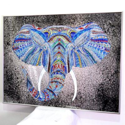 CRYSTAL ELEPHANT. СЛОН В АЛЮМИНИЕВОЙ РАМЕ. №3338A