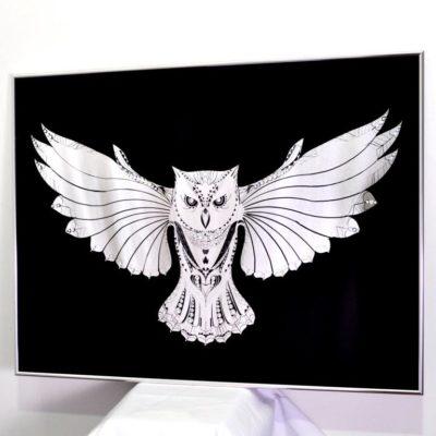 BLACK CRYSTAL OWL. ЧЁРНАЯ КРИСТАЛЬНАЯ СОВА №3318