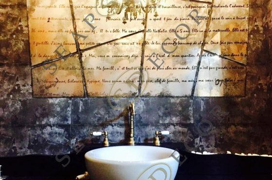 Эксклюзивное состаренное декоративное зеркало с французским текстом от SEAPS