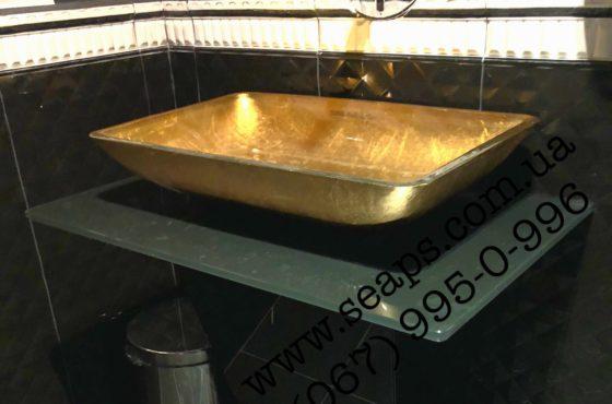 Тумба под умывальник из чёрного калённого стекла в ресторане Balmelli
