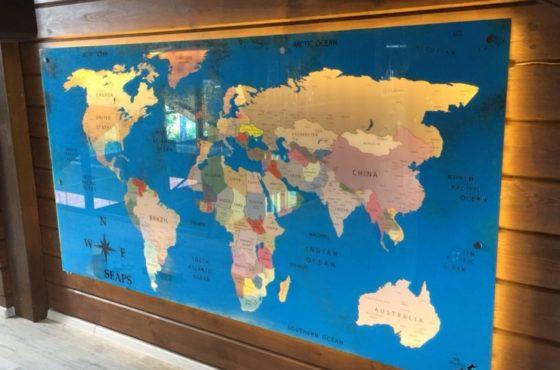 Эксклюзив! Состаренная картина Карта Мира 2300х1260 мм с подсветкой
