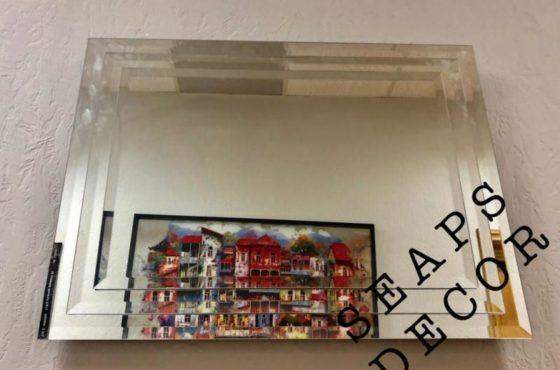 3d тройное зеркало в зеркальной раме с фацет 20 мм в офисе SEAPS