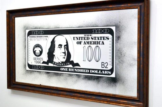 Картина состаренная с изображением 100 $ и Bendjamina Franklina