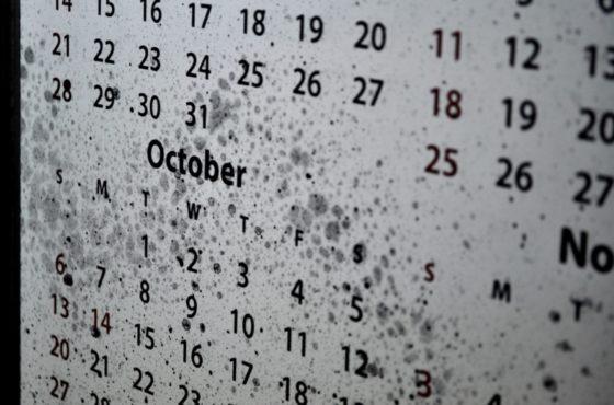 Календарь 2019 года на состаренном зеркале в багетной раме