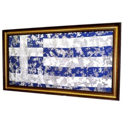 ФЛАГ ГРЕЦИИ GREECE FLAG В РАМЕ ПОД ЗЕРАЛОМ. № 4008