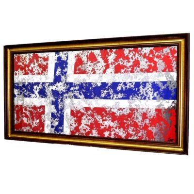 ФЛАГ НОРВЕГИИ NORWAY FLAG В РАМЕ ПОД ЗЕРАЛОМ. № 4004