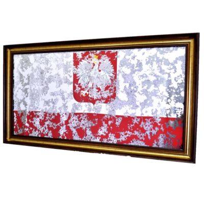 ФЛАГ ПОЛЬШИ POLAND FLAG В РАМЕ ПОД ЗЕРАЛОМ. № 4012