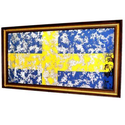 ФЛАГ ШВЕЦИИ SWEDEN FLAG В РАМЕ ПОД ЗЕРКАЛОМ. № 4009