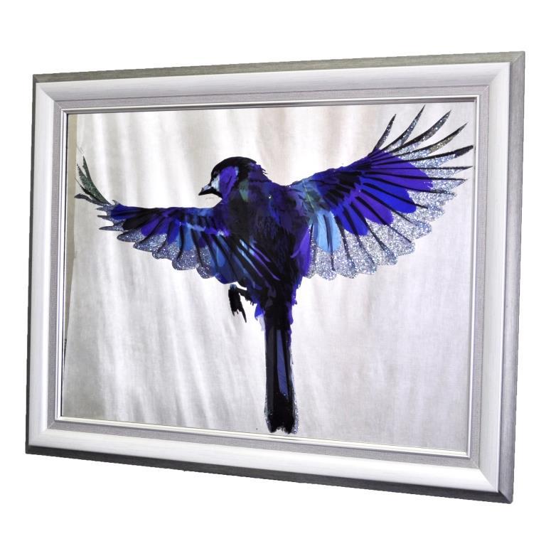 КАРТИНА НА ЗЕРКАЛЕ BLUE BIRD OF HAPPINESS №3427